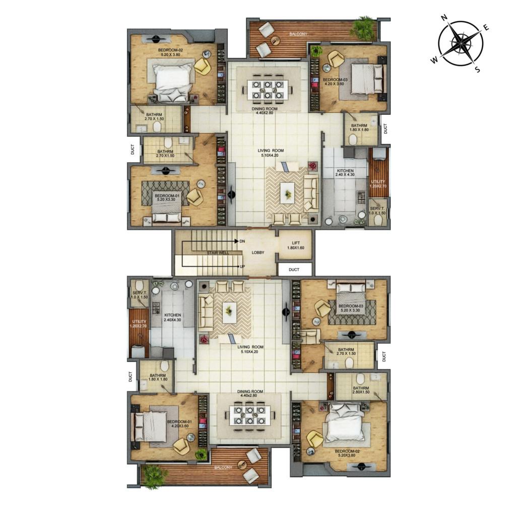 Typical Floor Plan - Store Room & Foyer